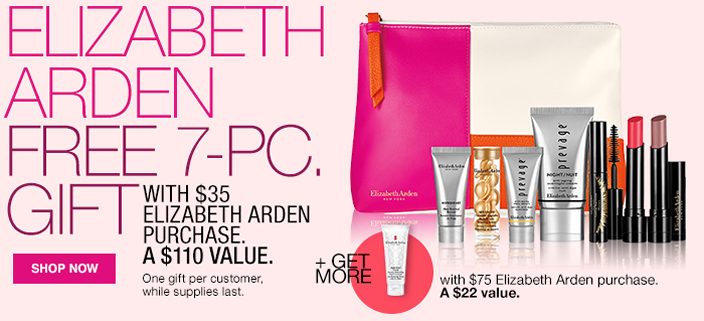 Elizabeth Arden, Free 7-Piece, Gift with $35 Elizabeth Arden Purchase, a $110 Value, One gift per customer, while supplies last