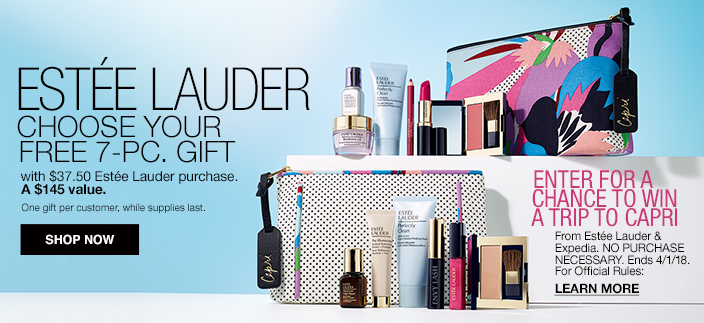 Estee Lauder Choose Your Free 7-Piece, Gift, Shop Now, Get More, Enter For a Chance To Win, Learn More, One gift per customer, while supplies last