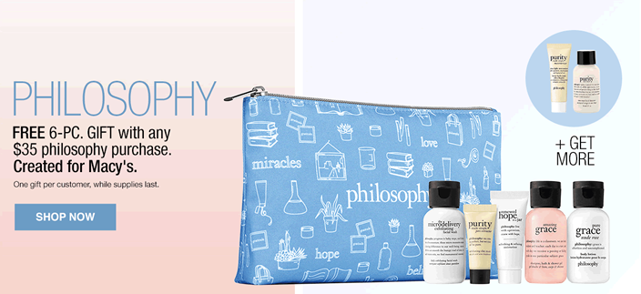 Philosophy, Free 6-Piece, Gift with any $35 philosophy purchase, Created for Macy's, One gift per customer, while supplies last, Shop now
