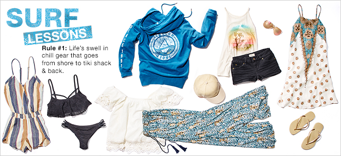 Surf Lessons, Rule #1: Life's Swell in chill gear that goes from shore to tiki shack and back