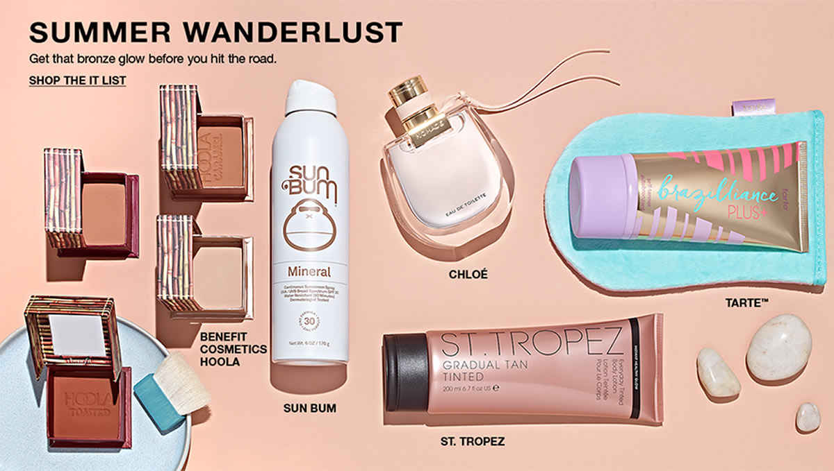 Summer Wanderlust, Get that bronze glow before you hit the road, Shop The IT List, Benefit Cosmetics Hoola, Sun Bum, Chloe, Tarte