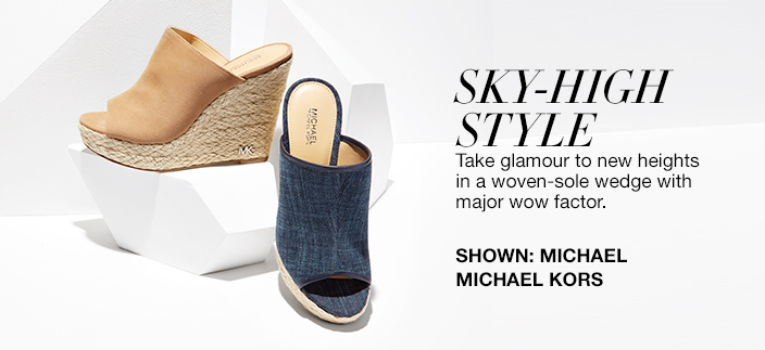 Sky-High Style, Take glamour to new heights in a woven-sole wedge with major wow factor, Shown: MICHAEL Michael Kors