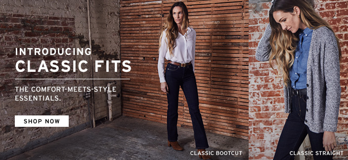Introducing Classic Fits, The Comfort-Meets-Style Essentials, Shop now, Classic Bootcut, Classic Straight