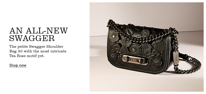 An All-New Swagger, The Petite Swagger Shoulder Bag 20 with the most intricate Tea Rose motif yet, Shop now