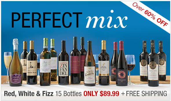 Holidays in one case. Over 60% off. Red, white, and fizz 15 bottles only $89.99 plus free shipping