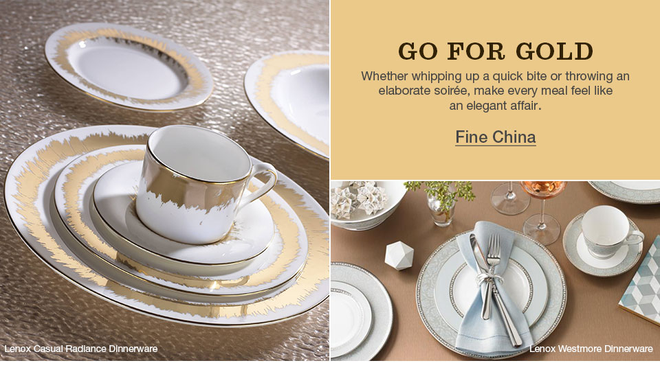 go for the gold, whether whipping up a quick bite or throwing an elaborate soiree, make every meal feel like an elegant affair. lenox casual radiance dinnerware, lenox westmore dinnerware