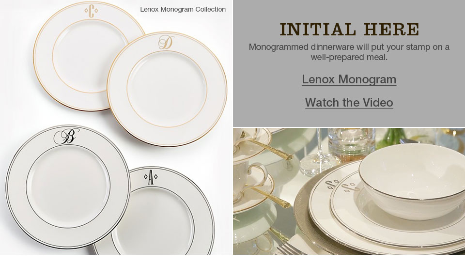 lenox monogram collection, initial here monogrammed dinnerware will put your stamp on a well prepared meal.