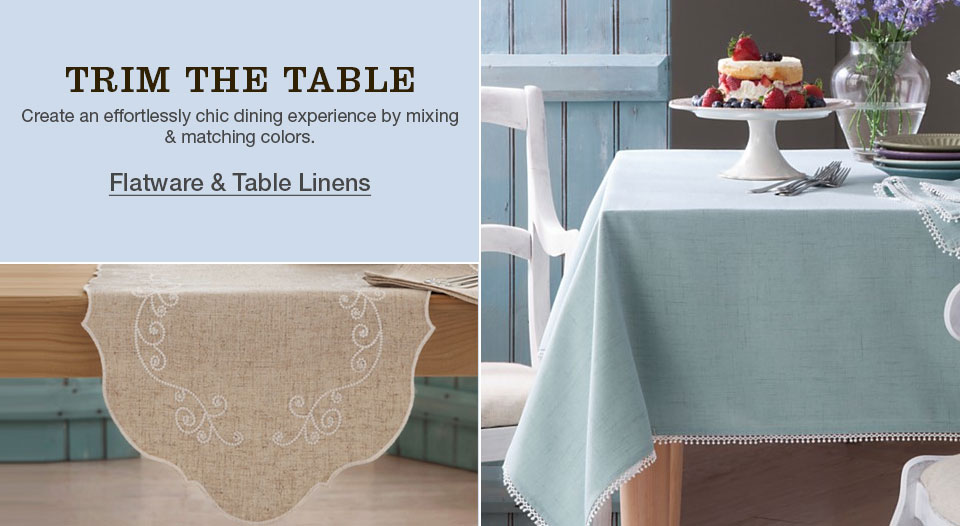 trim the table. create an efforlessly chic dining experience by mixing and matching colors.