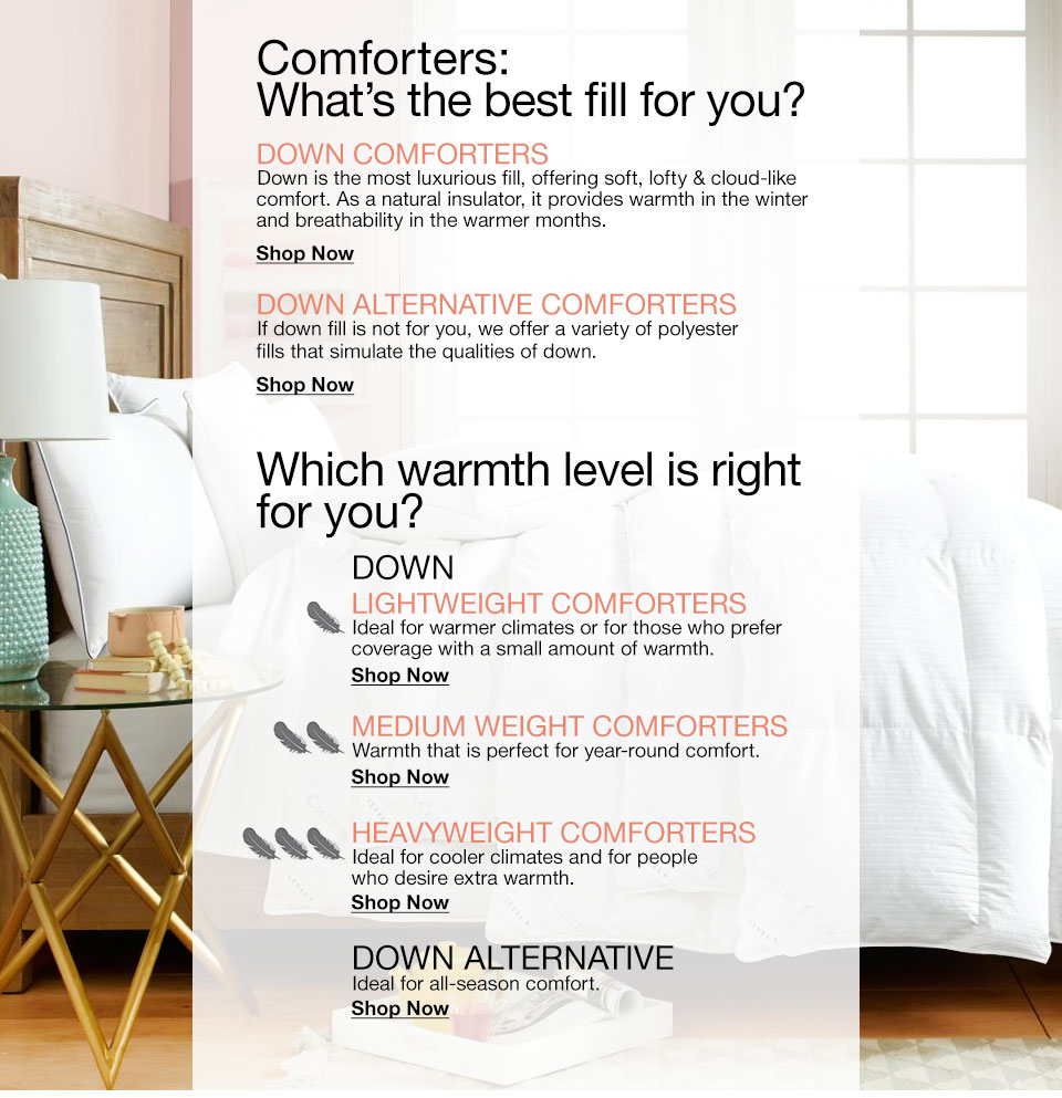Comforters: What's the best fill for you? Down comforters. Down is the most luxurious fill, offering soft, lofty and cloud-like comfort. As a natural insulator, it provides warmth in the winter and breathability in the warmer months. Down Alternative Comforters. If down fill is not for your, we offer a variety of polyester fills that simulate the qualities of down. Weigh your options. Lightweight comforters. Ideal for warmer climates or for those who prefer coverage with a small amount of warmth. Medium weight comforters. Warmth that is perfect for year-round comfort. HeavyWeight Comforters. Ideal for cooler climates and for people who desire extra warmth. Down Alternative. Ideal for all-season comfort