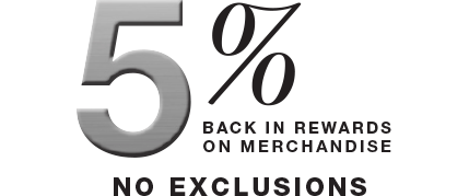 5 percent back in rewards on merchandise. No Exclusions