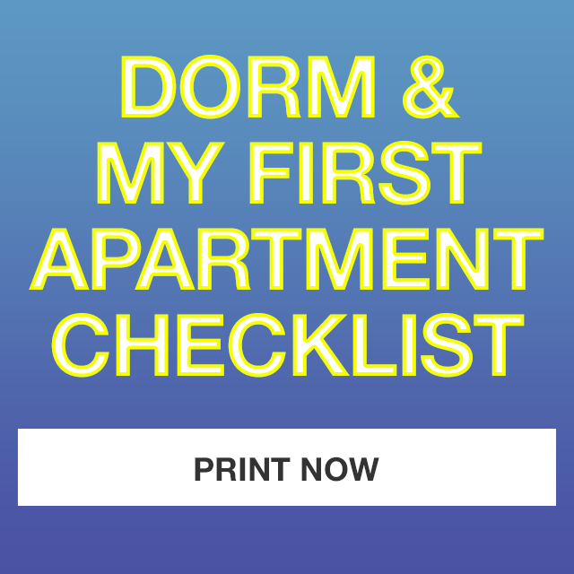 dorm and my first apartment checklist. print now.