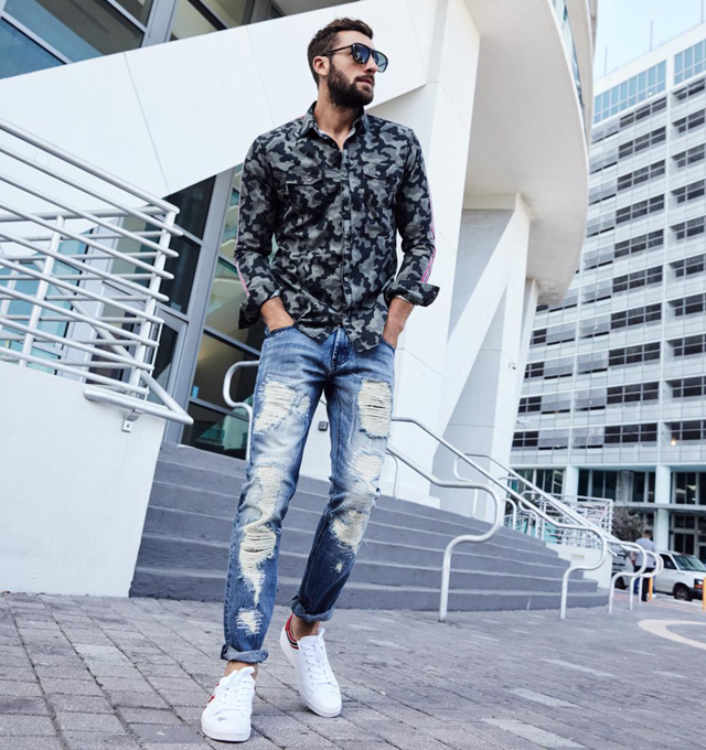 creative ripped jeans outfit ideas men