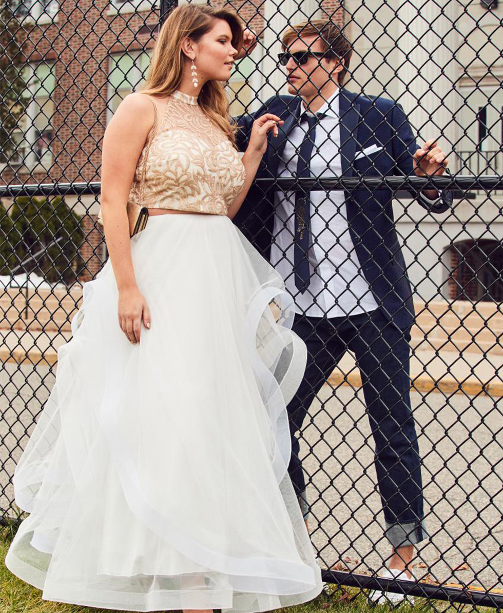 f81701565ac30 White dresses aren't just for weddings. So how do you make your white prom  dress look less bridal? Shop for white prom dresses with two-piece  silhouettes, ...