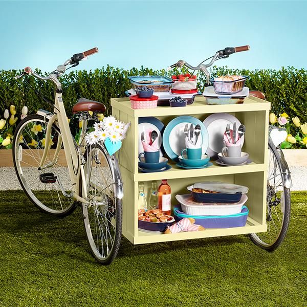 bike with shelf containing wedding registry items
