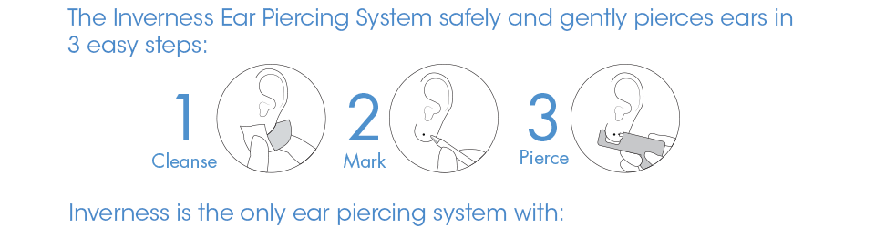 The Inverness Ear Piercing System safely and gently pierces ears in three easy steps: 1. Cleanse 2. Mark 3. Pierce. Inverness is the only ear piercing system with: