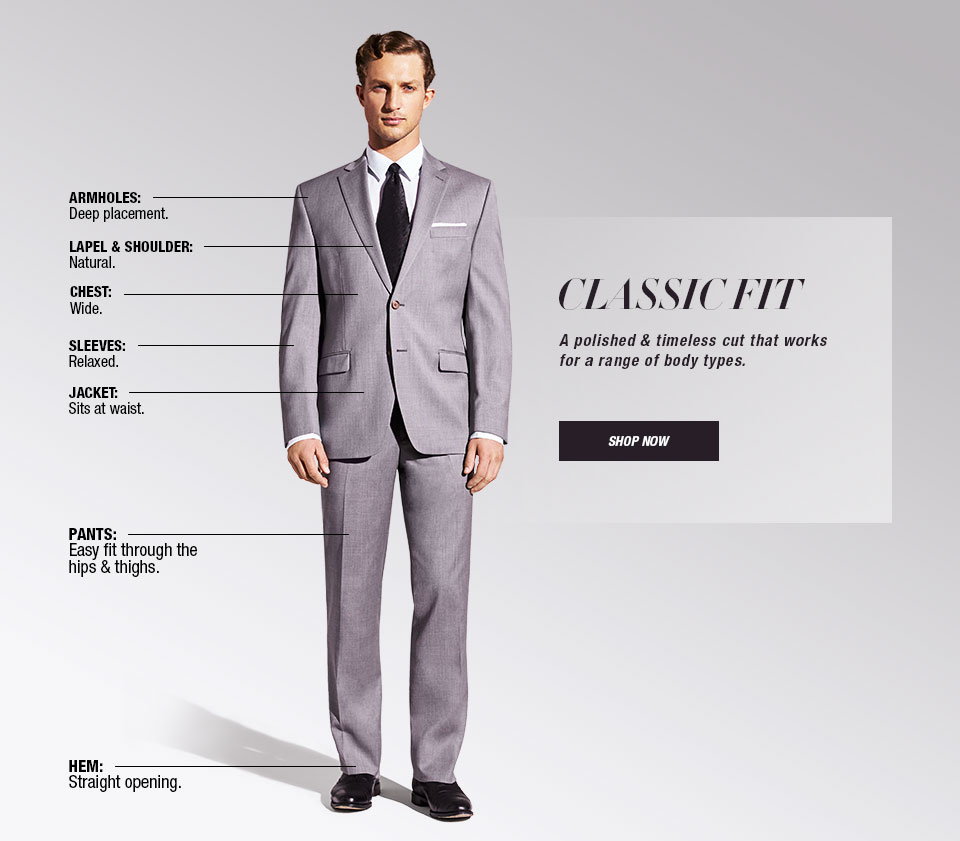 Classic Fit. A polished and timeless cut that works for a range of body types. Armholes, Deep placement. Lapel and Shoulder, Natural. Chest, Wide. Sleeves, Relaxed. Jacket, Sits at waist. Pants, Easy fit through the hips and thighs. Hem, Straight opening.