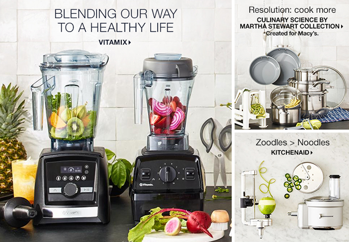 Blending Our Way to a Healthy Life, Vitamix, Resolution: cook more, Culinary Science by Martha Stewart Collection, Created for Macy's, Zoodles Noodles, Kitchenaid