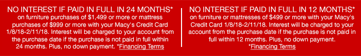 No Interest if Paid in Full in 24 Months, Financing Terms, no Interest if Paid in Full in 12 Months, Financing Terms