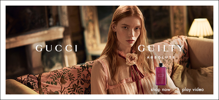 Gucci, Guilty Absolute, shop now, play video