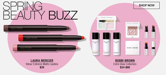 Spring Beauty Buzz, Laura Mercier Velour Extreme Matte Lipstick $28, Bobbi Brown Extra Glow Collection $34-$68, Shop now