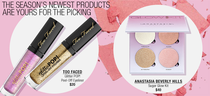 The Season's Newest Products Are Yours For The Picking, Too Faced Glitter Pop! Peel-Off Eyeliner $20, Anastasia Beverly Hills Sugar Glow Kit $40