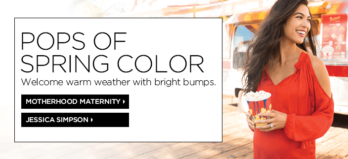 Pops of Spring Color, Welcome warm weather with bright bumps, Motherhood Maternity, Jessica Simpson