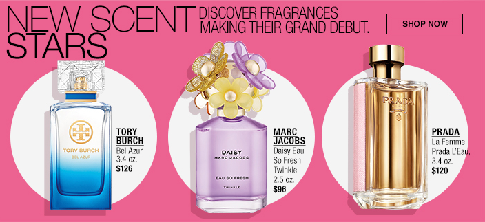 New Scent Stars, Discover Frgrances Making Their Grand Debut, Shop now, Tory Burch, Marc Jacobs, Prada