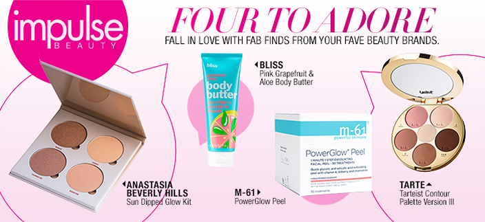 Impulse Beauty, Four to Adore, Fall in Love with Fab Finds From Your Fave Beauty Brands, Anastasia Beverly Hills, Bliss, M-61, Tarte