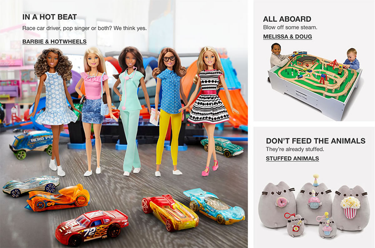 In a hot Beat, Barbie and Hotwheels, All Aboard, Melissa and Doug, Don't Feed the Animals, Stuffed Animals