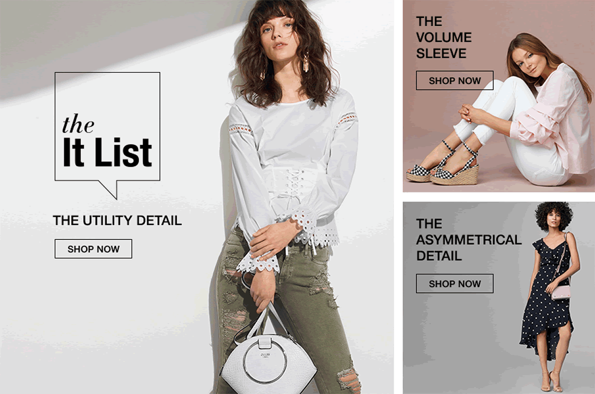 The it List, The Utility Detail, Shop now, The Volume Sleeve, Shop now, The Asymmetrical Detail, Shop now