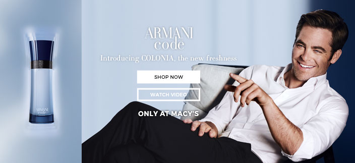 Arman code, Introducing Colonia, the new freshness, Shop now, Watch Video, Only at Macy's
