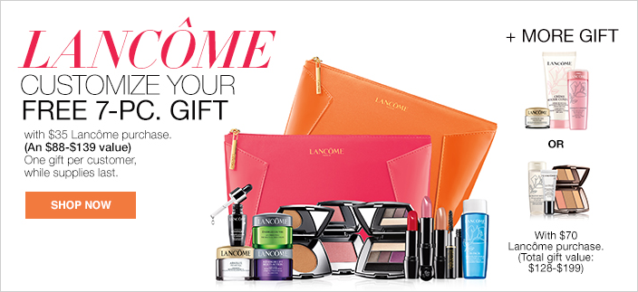 Lancome Customize Your Free 7-Piece, Gift with $35 Lancome purchase, (an $88-$139 value) One gift per customer, while supplies last, Shop Now