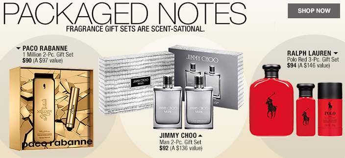 Packaged Notes, Fragrance Gift Sets are Scent-Sational, Shop now, Paco Rabanne, Jimmy Choo, Ralph Lauren