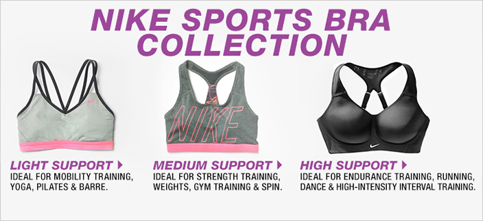 Nike Sports Bra Collection, Light Support, Medium Support, High Support