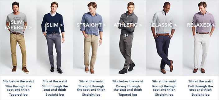 Slim Tapered, Slim, Straight, Athletic, Classic, Relaxed