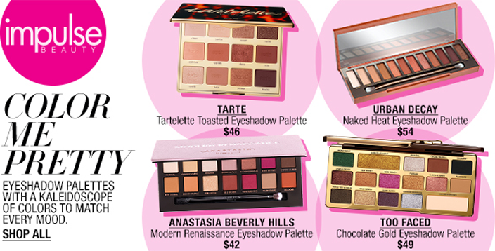 Impulse Beauty, Color me Pretty Eyeshadow Palettes With a Kaleidoscope of Colors to Match Every Mood, Shop All, Tarte, Tartelette Toasted Eyeshadow Palette $46, Urban Decay Naked Heat Eyeshadow Palette $54, Anastasia Beverly Hills $42, Too Faced