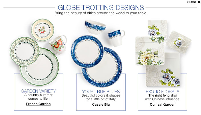Globe trotting designs  Bring the beauty of cities around the world to your  table. Villeroy and Boch Dining Collections   Macy s