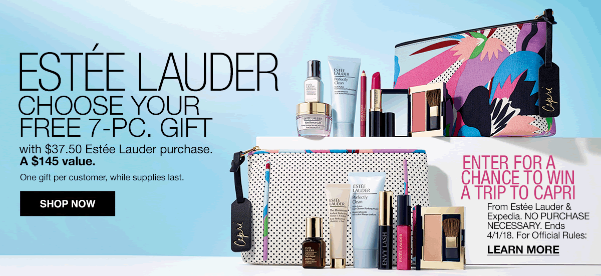 Estee Lauder, Choose Your Free 7-Piece, Gift with $37.50 Estee Lauder purchase, A $145 value, One gift per customer, while supplies last, Shop now