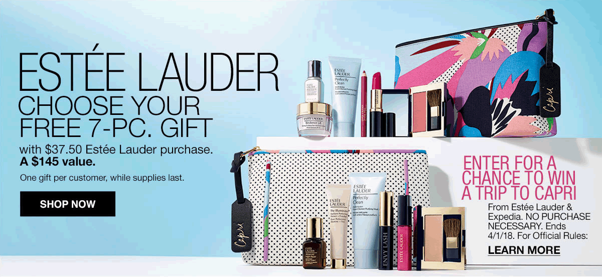 Estee Lauder, Choose Your Free 7-piece, Gift with $37.50, Estee Lauder purchase, A $145 value, One gift per customer, While supplies last, Shop Now