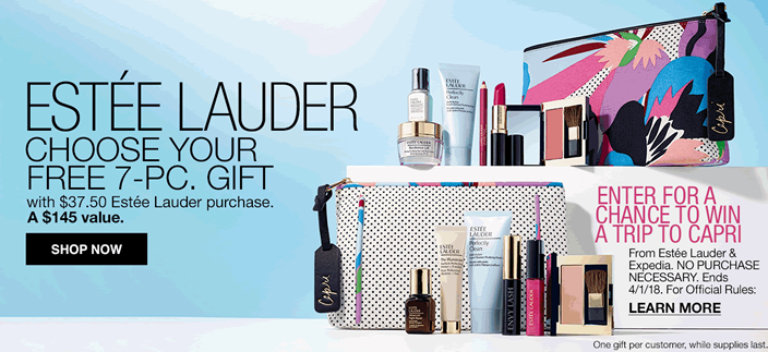 Estee Lauder, Choose Your Free 7-Piece, Gift with $37.50 Estee Lauder purchase, a $145 value, Shop now