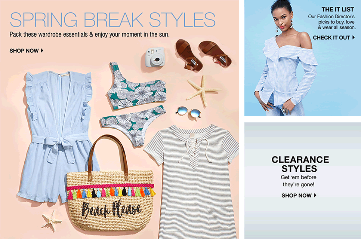 Spring Break Styles, Shop now, The It List, Check it Out, Clearance Styles, Shop now