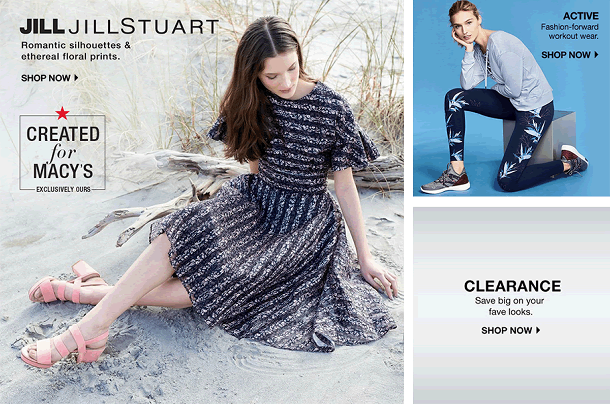 Jill Jillstuart, Romantic silhouettes and ethereal floral prints, Shop now, Active Shop now, Clearance, Shop now
