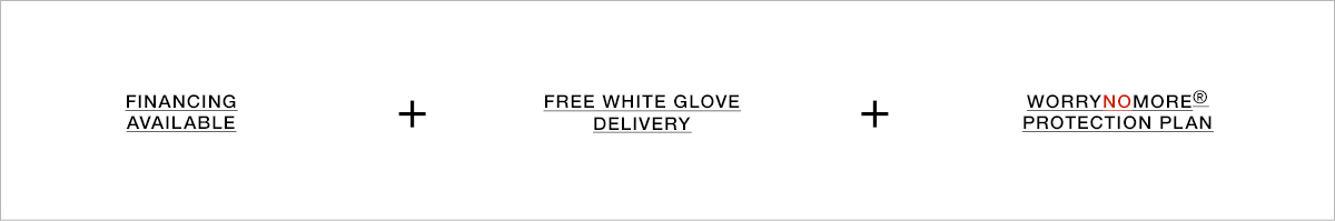 Financing Available + Free White Glove Delivery + Worrynomore Protection Plan