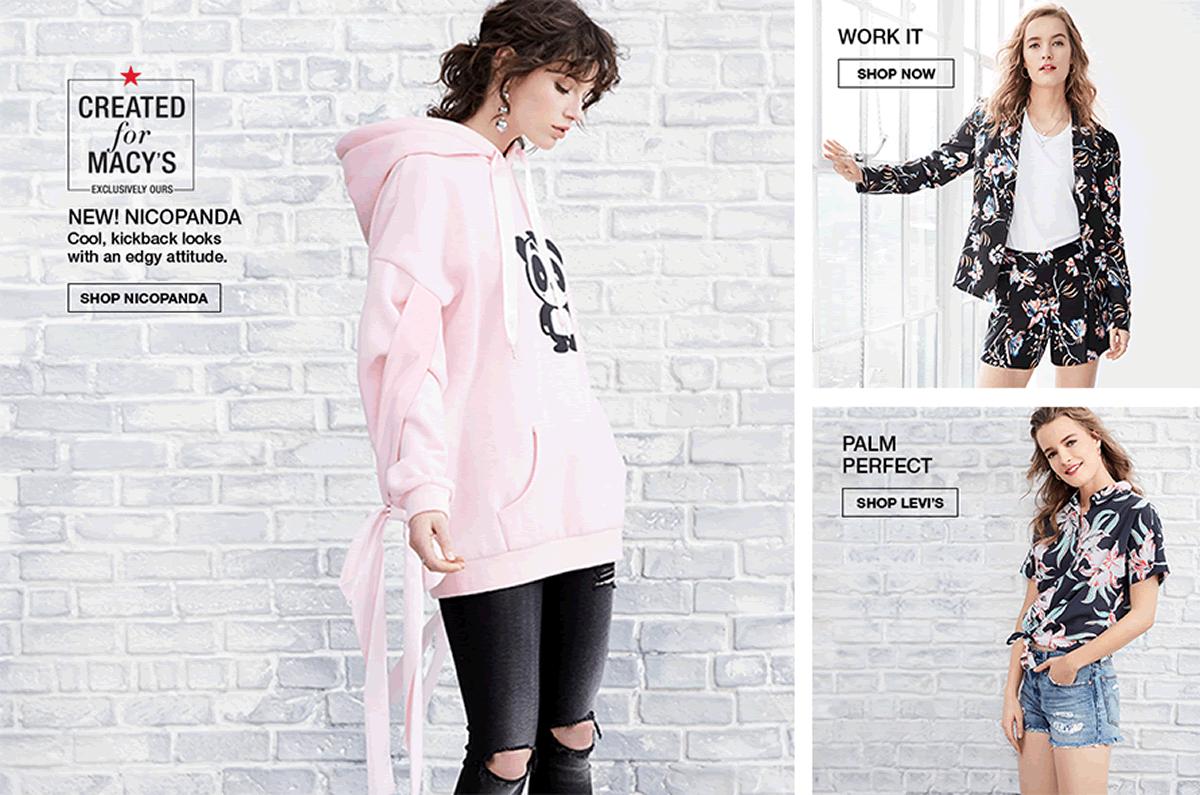 Created for Macy's, New! Nicopanda Cool, Kickback looks with an edgy attitude, Shop Nicopanda, Work it, Shop Now, Palm Perfect, Shop Levi's