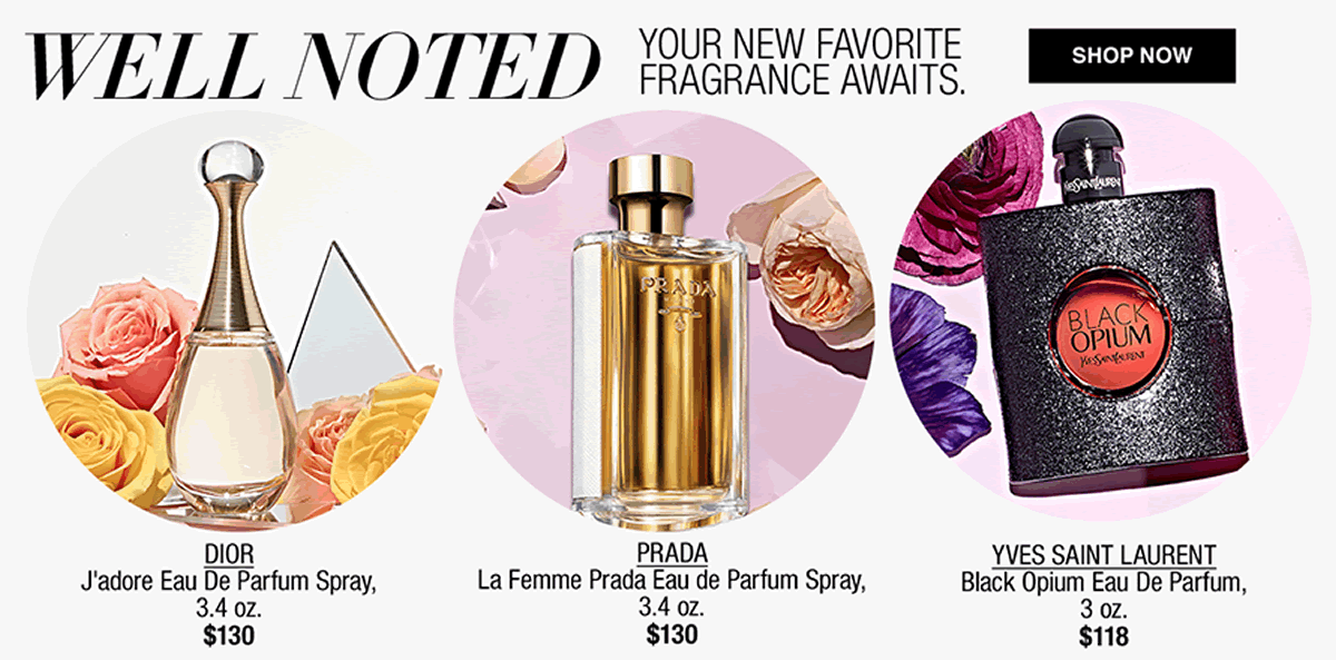 Well Noticed, Your New Favourite Fragrance Awaits, Dior, $130, Prada $130, Yves Saint Laurent, $118