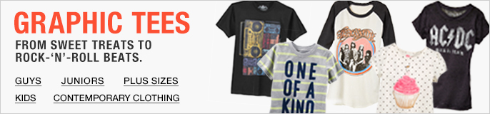 Graphic Tees, From Sweet Treats to Rock-'N'-Roll Beats, Guys, Juniors, Plus Sizes, Kids, Contemporary Clothing