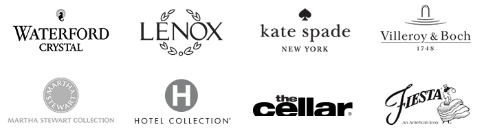 Waterford Crystal, Lenox, kate spade new york, Villeroy and Boch, Martha Stewart Collection, Hotel Collection, the cellar, Fiesta