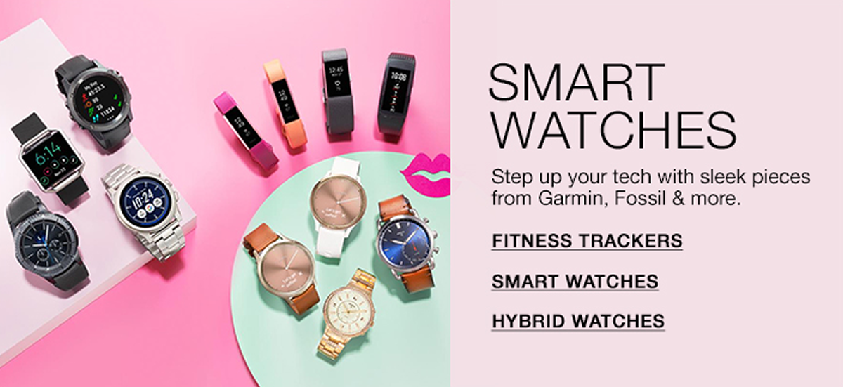 Smart Watches, Stay up your tech with sleek pieces from Garmin, Fossil and more, Fitness Trackers, Smart Watches, Hybrid Watches