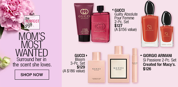 Mom's Most Wanted, Surround her in the scent she loves, Shop now, Gucci, Gucci, Giorgio Armani