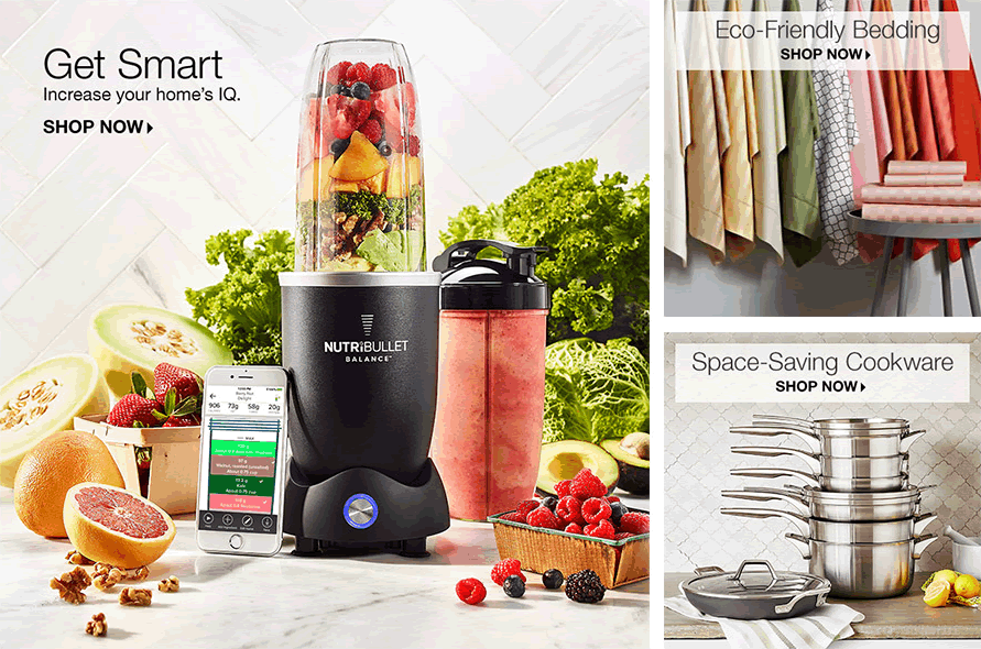 Get Smart, Shop Now, Eco-Friendly Bedding, Shop Now, Space-Saving Cookware, Shop Now